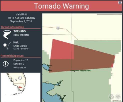avertizare tornado pentru zona Miami